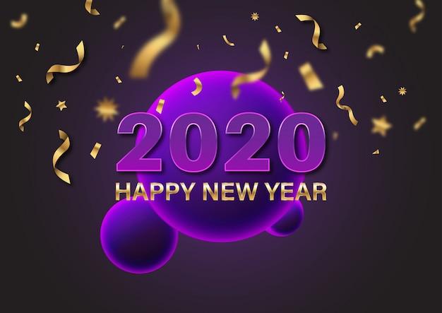 2020 guten rutsch ins neue jahr-goldzeichentext und -zahl