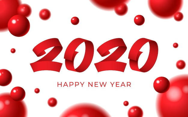 2020 guten rutsch ins neue jahr-hintergrund, roter zahltext, weihnachtswinterkarte der abstrakten kugeln 3d