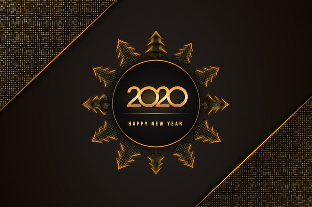 2020 guten rutsch ins neue jahr-text mit weihnachtsbäumen auf blac