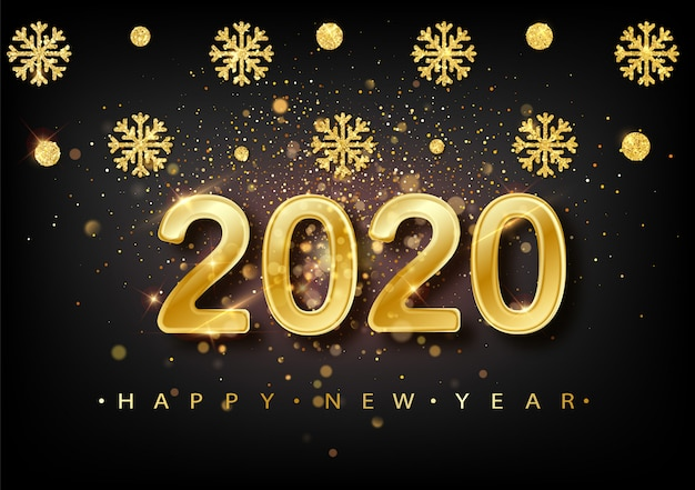 2020 hintergrund des neuen jahres. feiertagsaufkleber mit gefallenem goldenem funkeln confetti über schwarzem