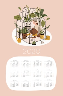 2020 kalendervorlage mit gartenarbeit.