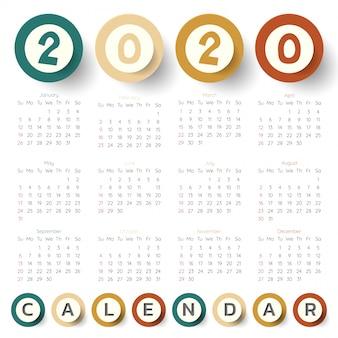 2020 moderne kalendervorlage.