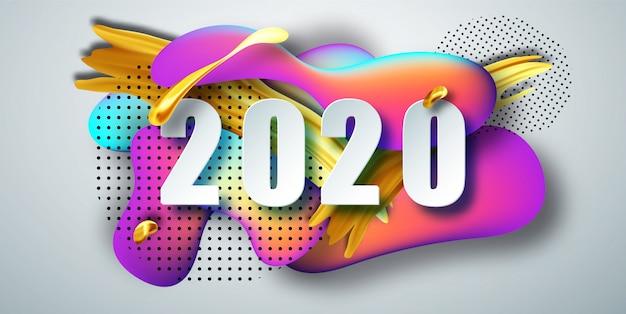 2020 neues jahr auf dem hintergrund eines flüssigen farbhintergrundelements. flüssigkeit formt zusammensetzung. .