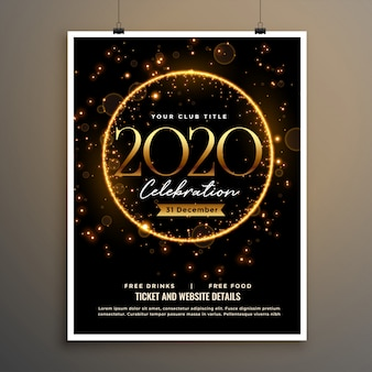 2020 neues jahr golden sparkle flyer plakat vorlagendesign