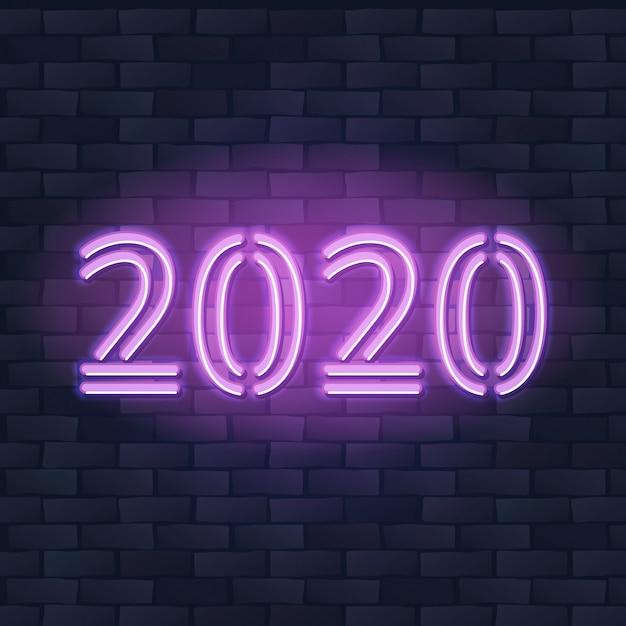 2020 neues jahr-konzept mit bunter neonlichtfahne