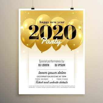 2020 neues jahr party cover template design mit luftballons