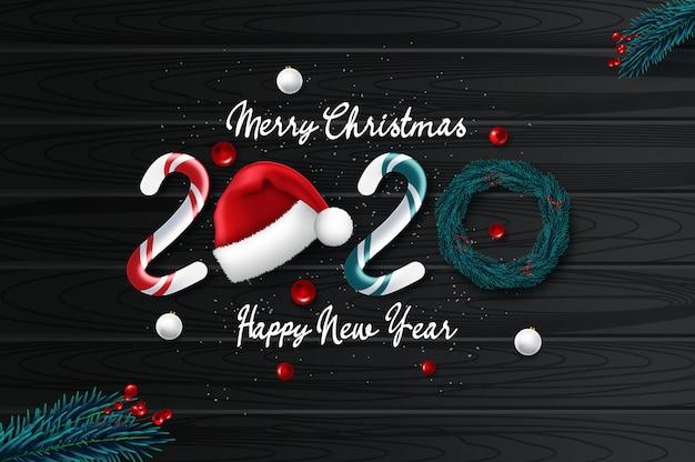 2020 neujahrskarte mit weihnachten