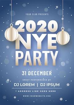 2020 party poster mit hängenden papierschnitt kugeln und event details über blaue bokeh schneefälle.