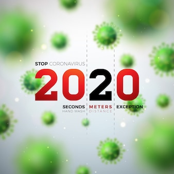 2020 stoppen sie das coronavirus-design mit fallender covid-19-viruszelle auf hellem hintergrund. vektor 2019-ncov corona virus ausbruch illustration. bleib zu hause, bleib sicher, wasche die hand und distanziere dich.