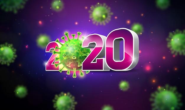 2020 stoppen sie das coronavirus-design mit fallender covid-19-viruszelle