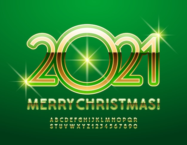 2021 frohe weihnachten. elegante schicke schrift. glänzendes grünes und goldenes alphabet buchstaben und zahlen eingestellt