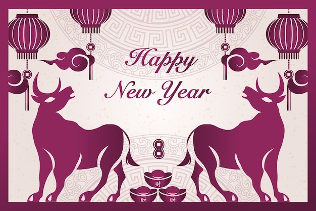 2021 frohes chinesisches neujahr von ochsenpurpur traditioneller rahmenbarrenmünzenlaternenwolke.