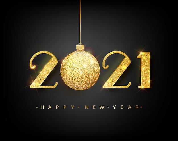2021 frohes neues jahr. 2021 frohes neues jahr hintergrund mit goldenen kugel.