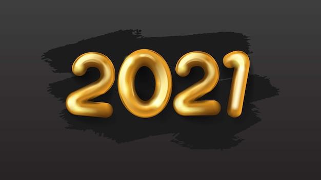 2021 frohes neues jahr 3d realistische goldene zahl auf schwarzem hintergrund