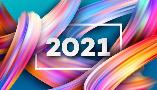2021 frohes neues jahr farbflusshintergrund.