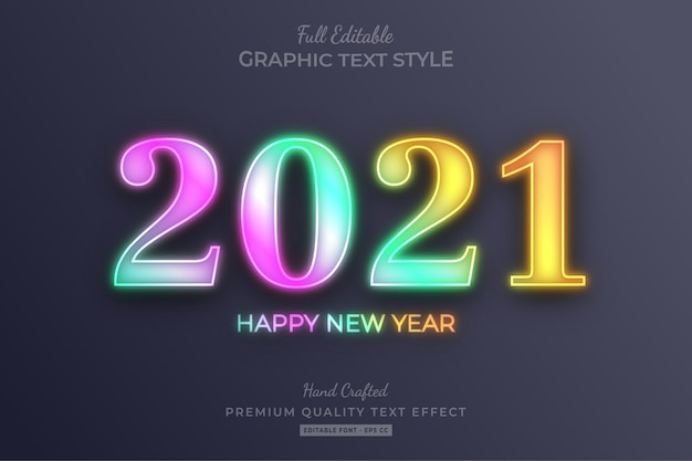 2021 frohes neues jahr farbverlauf holographisch bearbeitbarer texteffekt schriftstil