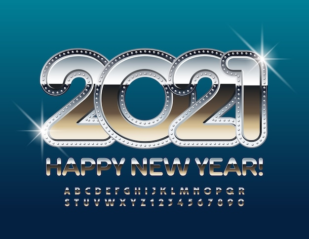 2021 frohes neues jahr. glänzendes chrom alphabet buchstaben und zahlen gesetzt. metallic reflektierende schriftart