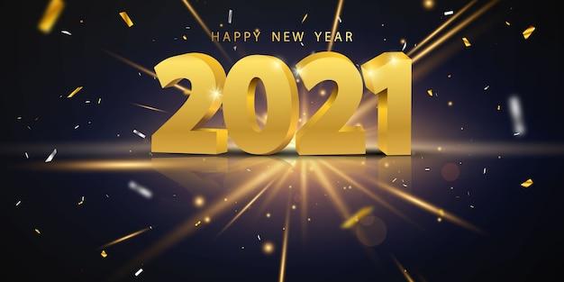 2021 frohes neues jahr gold Premium Vektoren