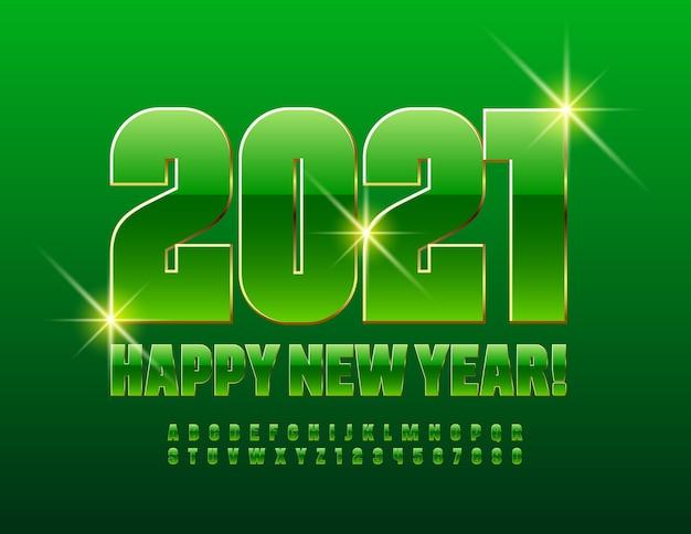 2021 frohes neues jahr. grün und gold glänzende schrift. premium alphabet buchstaben und zahlen eingestellt