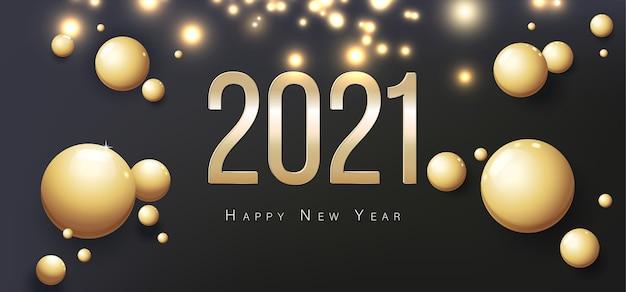 2021 frohes neues jahr grußkarte. goldkugeln auf schwarzem hintergrund.