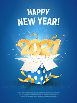 2021 frohes neues jahr illustration. goldene zahlen fliegen blaue geschenkbox aus