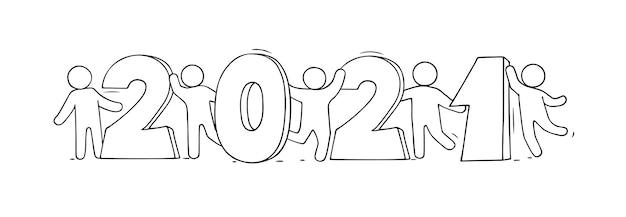 2021 frohes neues jahr karte. karikatur-gekritzelillustration mit kleinen leuten bereiten sich auf feier vor. hand gezeichnete vektorillustration.