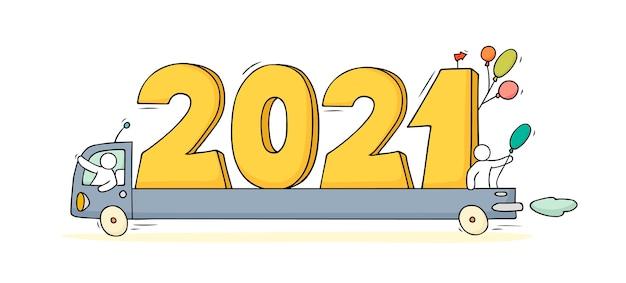 2021 frohes neues jahr-konzept mit autos. karikatur-gekritzelillustration mit kleinen leuten bereiten sich auf feier vor. hand gezeichnet für weihnachtsentwurf.