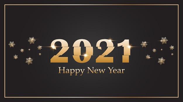 2021 frohes neues jahr. leganter goldtext auf dem hintergrund.