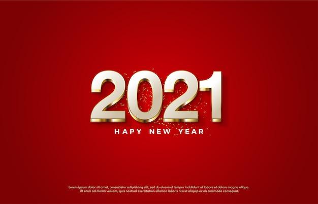 2021 frohes neues jahr mit eleganten weißen zahlen und goldenen linien.