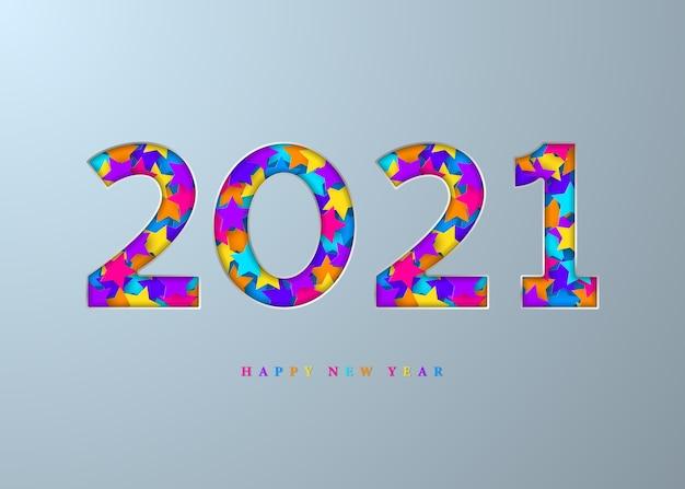 2021 frohes neues jahr. nummer mit hellen sternen.