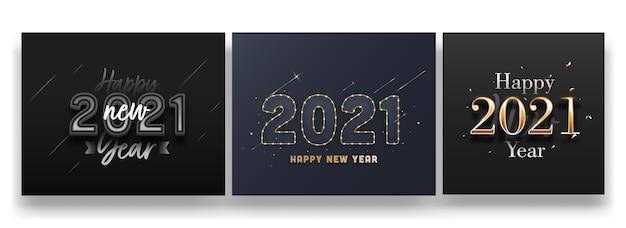 2021 frohes neues jahr text auf schwarzem und grauem hintergrund in drei optionen