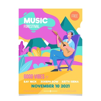 2021 illustriertes musikfestival-plakatdesign