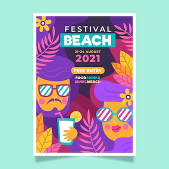 2021 illustriertes musikfestival-plakatkonzept
