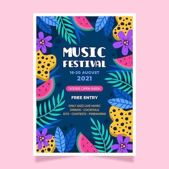 2021 illustriertes musikfestival-plakatthema