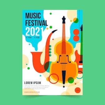 2021 illustriertes musikfestivalplakat