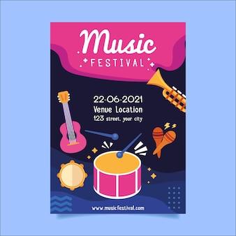 2021 illustriertes musikfestplakat