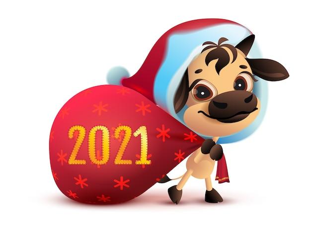 2021 ist das jahr des weißen stiers. lustiger weihnachtsgrundel trägt tasche des geschenks. isoliert auf weißer karikaturillustration
