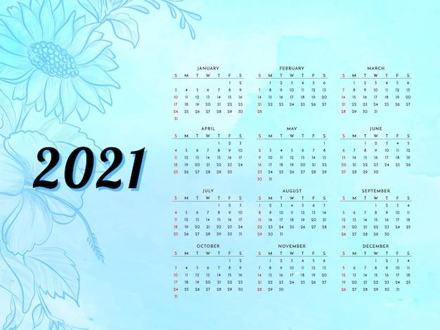 2021 jahreskalender mit schönem blumenvektor