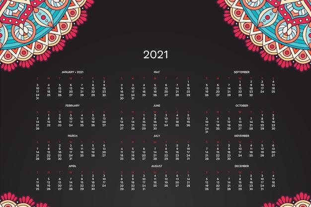 2021 kalender mit orientalischem mandala