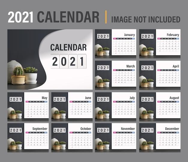 2021 kalendervorlage. modernes dunkles konzeptdesign des kalenders. satz von 12 monaten 2021 seiten