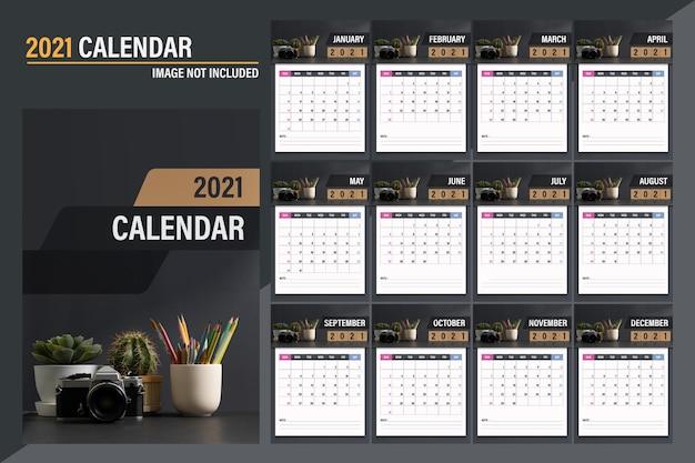 2021 kalendervorlage. modernes dunkles konzeptdesign des kalenders. satz von 12 monaten 2021 seiten Premium Vektoren