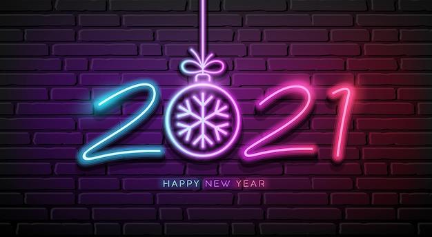 2021 neonlicht nummer frohes neues jahr