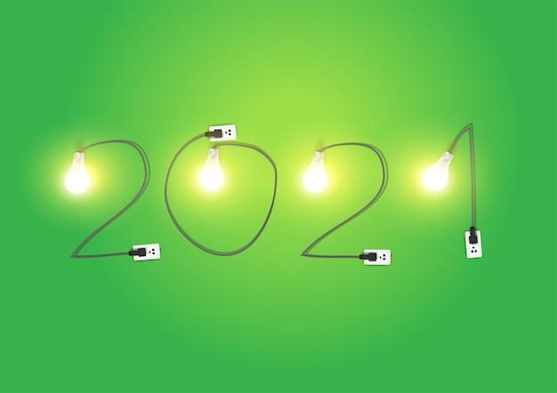2021 neues jahr mit kreativer glühbirnenidee