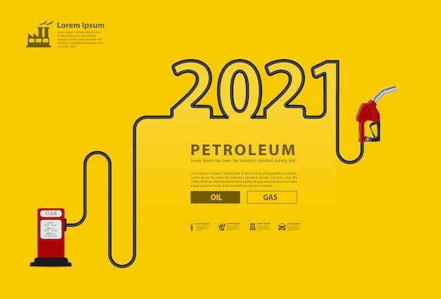 2021 neujahrs-erdölkonzept mit kreativem design der benzinpumpendüse