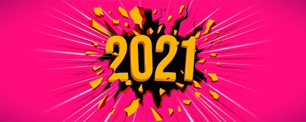 2021 neujahrsgrußkarte. illustration mit 3d-text. schwarzer riss in der rosa wand und dynamische linie. flyer, hintergrund, plakat, einladung oder banner für silvesterfeier 2021.