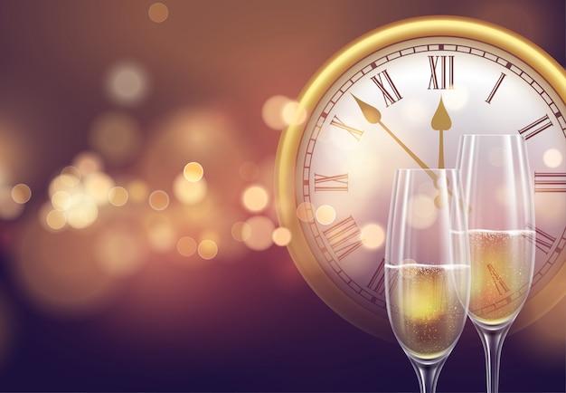 2021 neujahrshintergrund mit einer uhr und gläsern champagner und leuchtendem bokehlicht