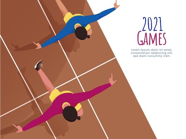 2021-spiele-konzept mit verschiedenen sportlichen laufsprints auf der rennstrecke.
