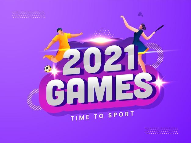 2021 spiele zeit zum sportkonzept mit cartoon-fußballer