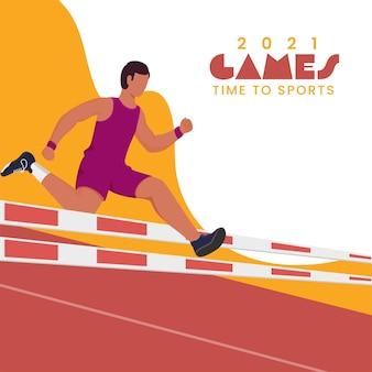 2021 spiele zeit zum sportkonzept mit gesichtslosem läufer