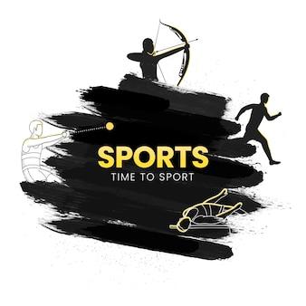 2021 spiele, zeit zum sportkonzept mit verschiedenen leichtathletik-pose und schwarzem pinseleffekt auf weißem hintergrund.